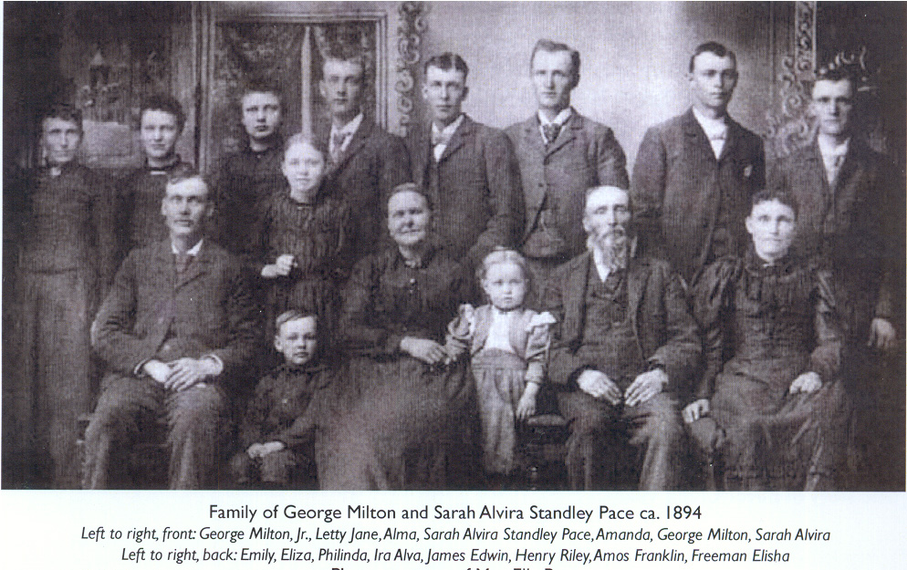 1894 Geoge Milton Pace and wife Sarah Standley Pace with their 14 children