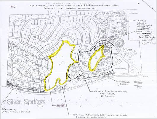 1986 Silver Springs General Location of Common Park, Recreation & Open Areas - drawn by J.J. Johnson Engineering Company