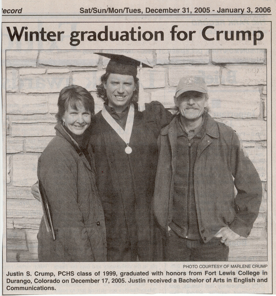2006 Jan 3 Justin Crump graduates