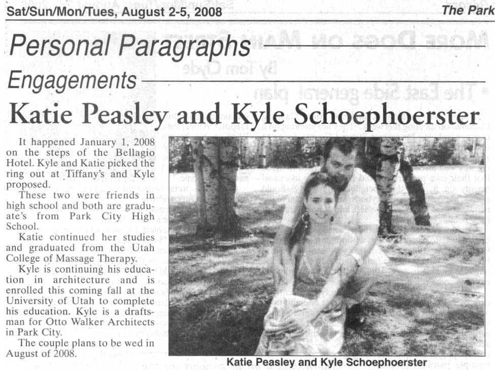 2008 August 2 Peasley weds Schoephoerster