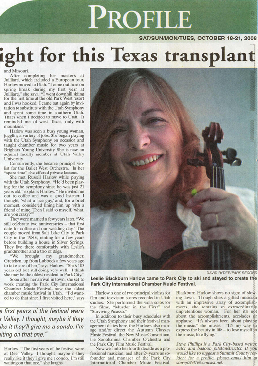 2008 - October 18 Leslie Harlow - Music birthright - right side of article