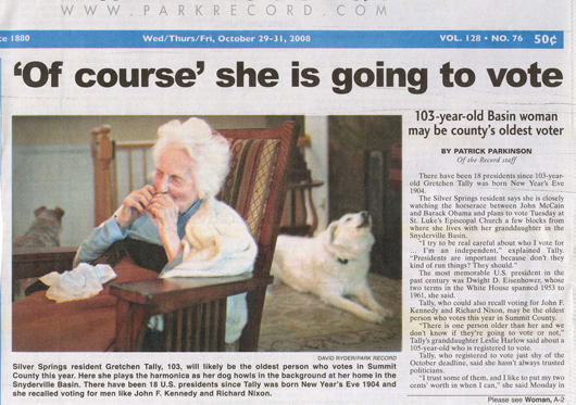 'Of course' she is going to vote - Gretchen Tally 103 yrs old