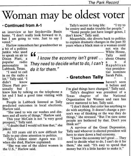 'Of course' she is going to vote - page 2 -Gretchen Tally 103 yrs old