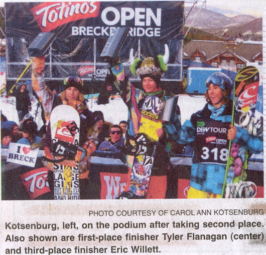 2009 Dec 26 PR - Sage Kotsenburg takes second place in Winter Dew Snowboarding Tour in Breckenridge, CO.