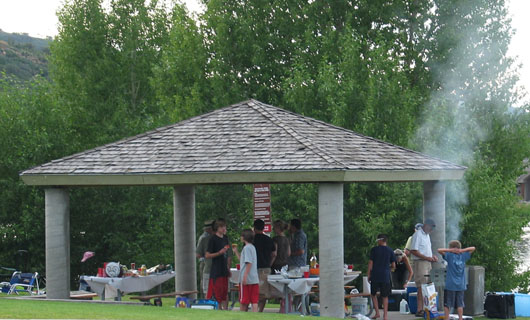 Trees are a backdrop for the pavilion