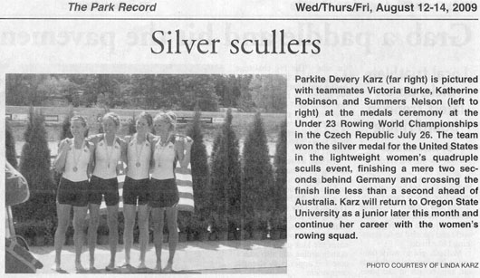2009 July 26 Silver Scullers win silver medal in Rowing World Championship