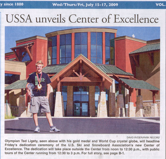 2009 July - Olympian Ted Ligety headliner at Center of Excellence opening