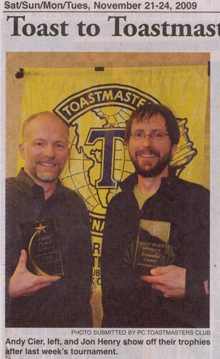 2009 - Nov. Andy Cier- Toastmaster Award-SSSF