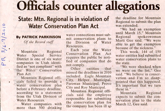 2010 - March 6 - Officials Counter Allegations - No Conservation Plan