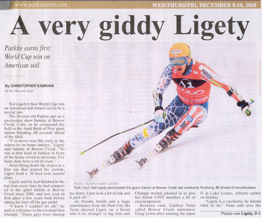 2010- Dec 8 - A very giddy Ligety wins World Cup in Beaver Creek, Colorado