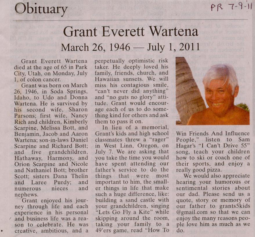 2011 July 1 Grant Wartena Obituary