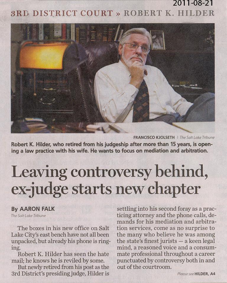 2011 Aug 21 Robert K. Hilder starts new chapter