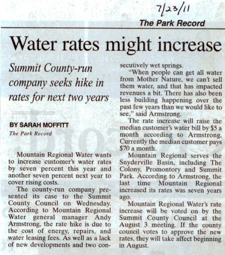 2011- July 23 - Mtn Regional Water Rates 14% Increase