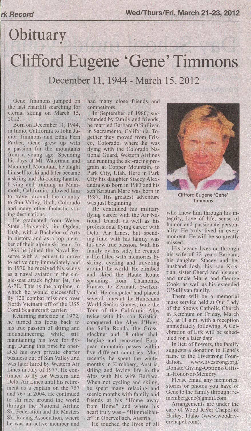 1944 to 2012 Gene Timmons Obituary