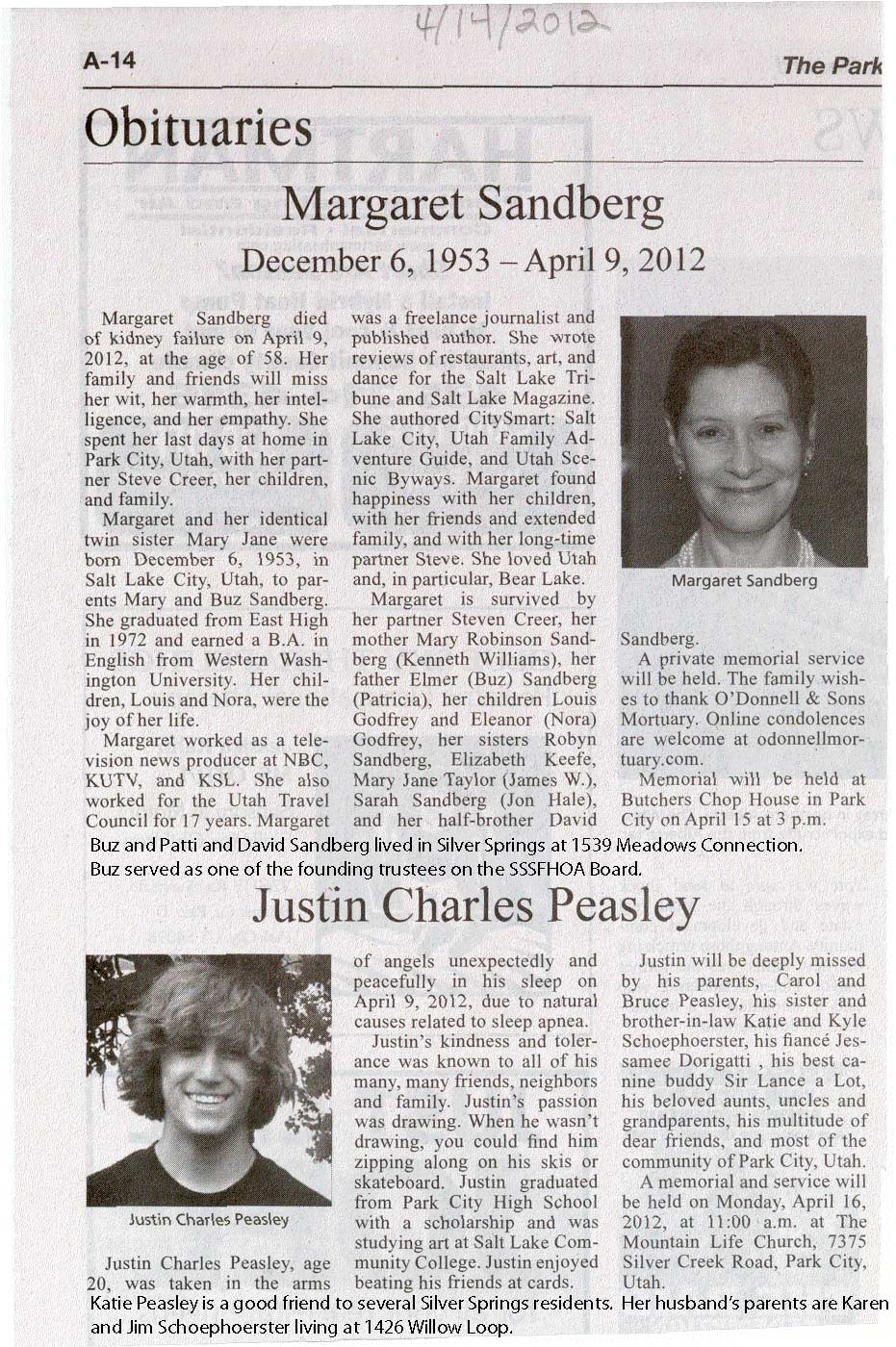 2012 April 9 Sandberg and Peasley Obits