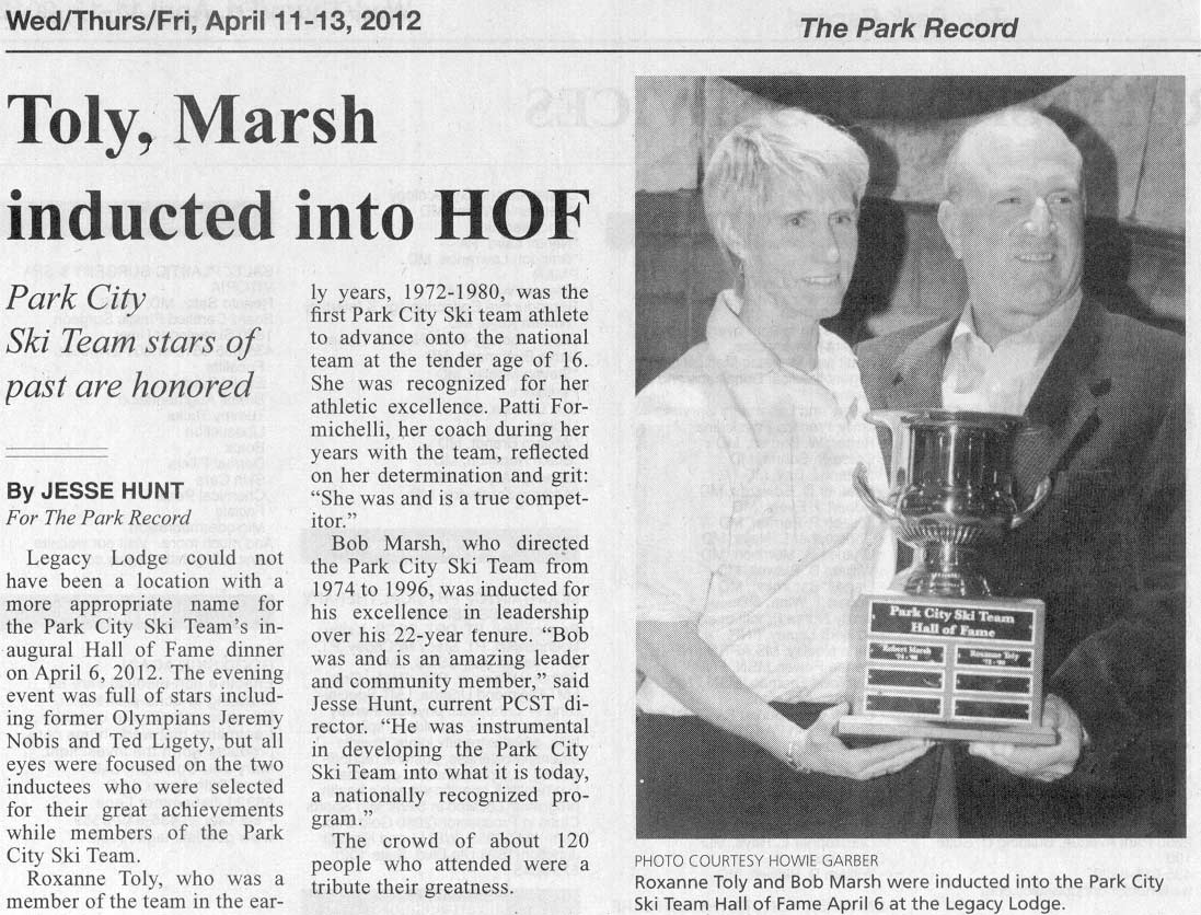 2012 April 6 Bob Marsh Inducted into Hall of Fame