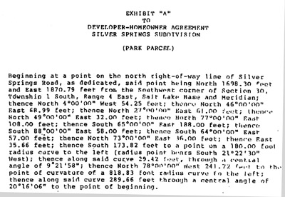 Developer-Homeowner Agreement Silver Springs Subdivision 10/25/1989