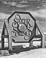 Silver Springs south entry sign 1982 - bw