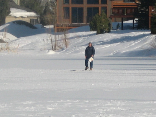 Icewalking on Duck Lake to feed the birds