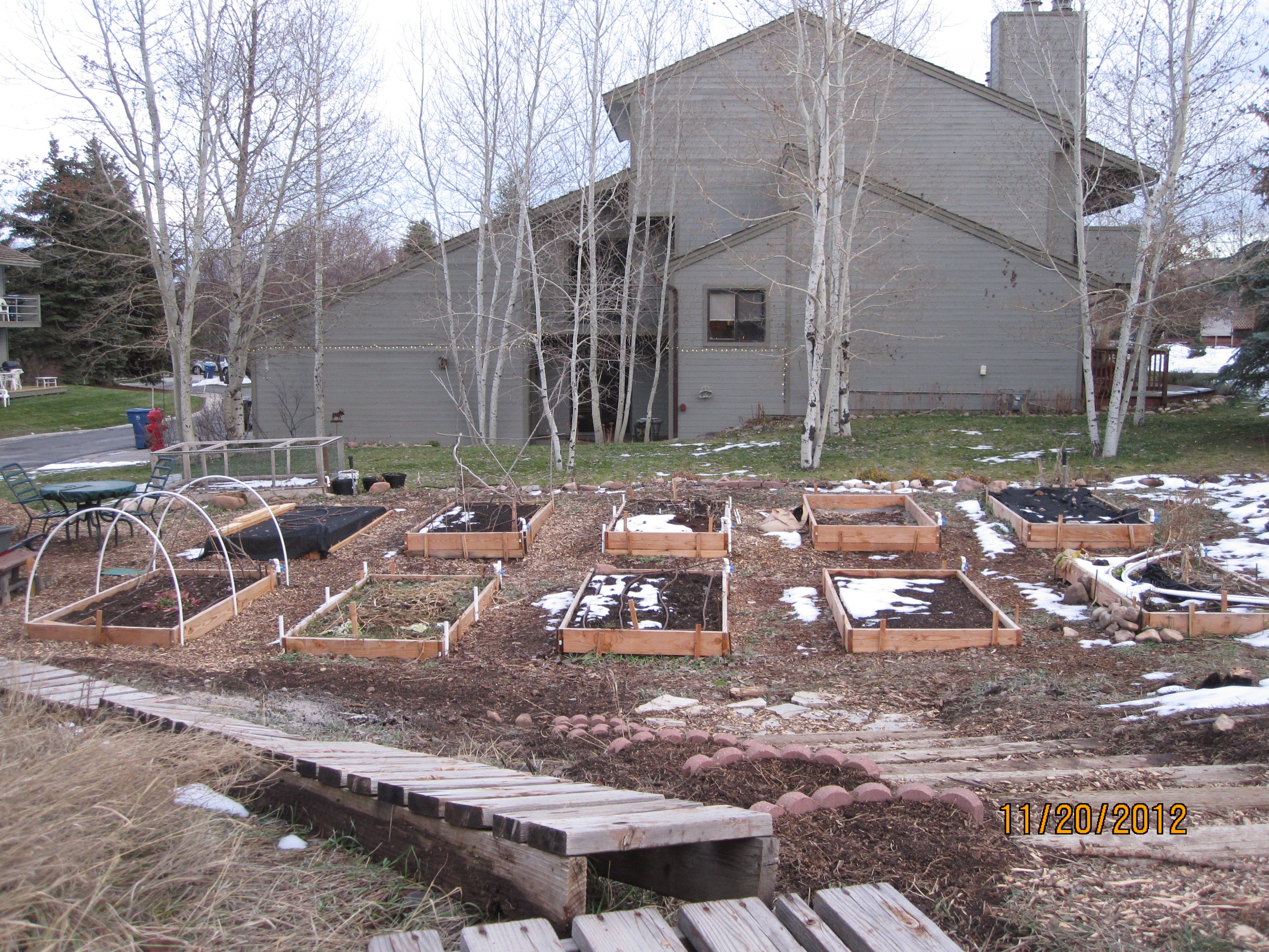 Silver Meadow Townhomes raised bed gardens