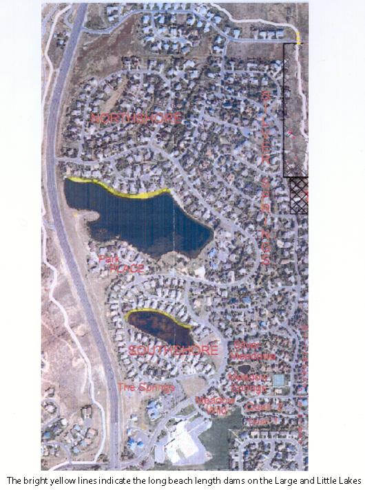 Map indicating the beach length dams on both lakes.