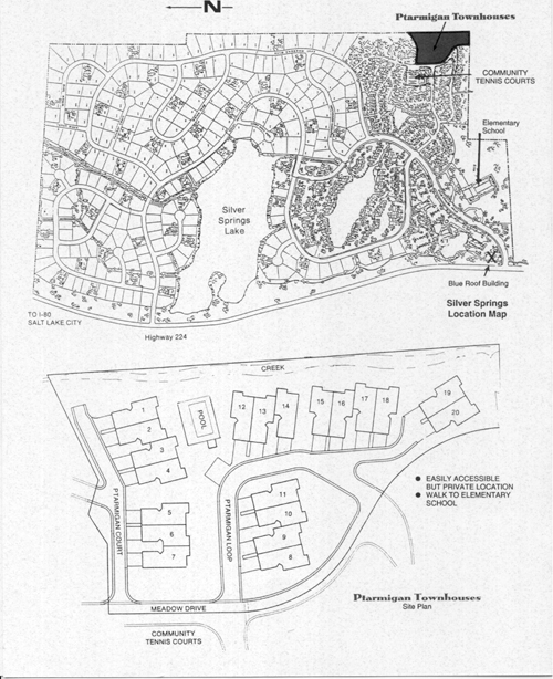 Ptarmigan Townhouses - Silver Springs Master Association - 1992 map and overview