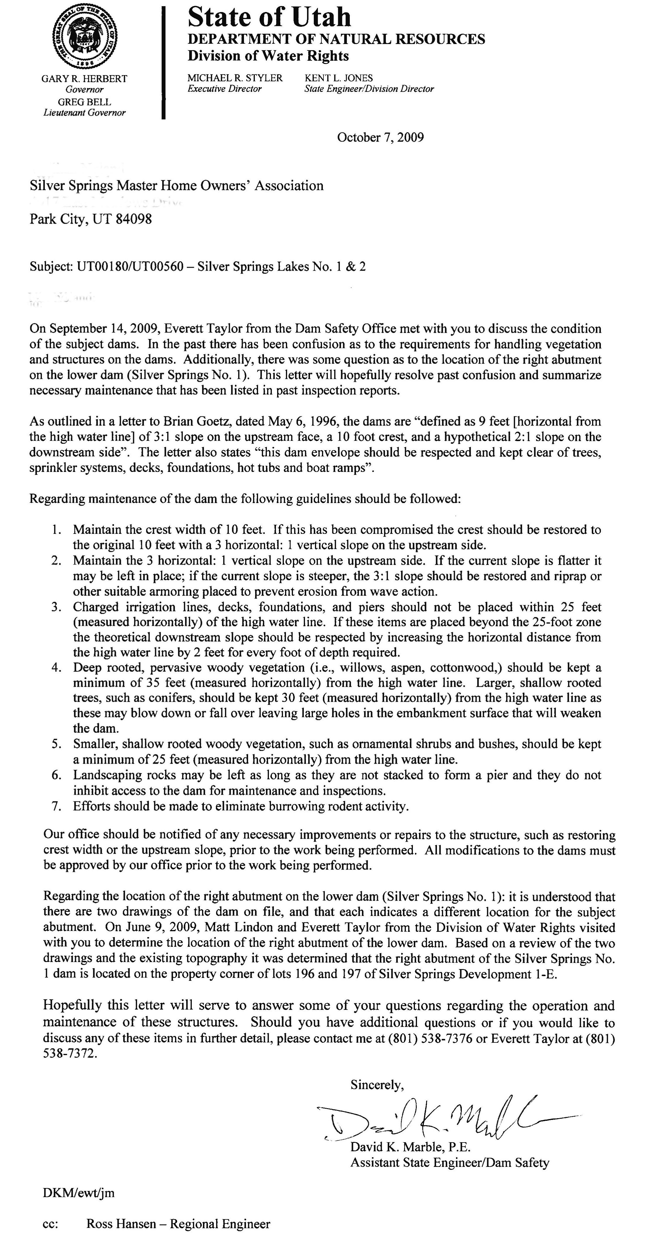 2009 - Oct 7 Div. Water Rights Letter regarding SS dams