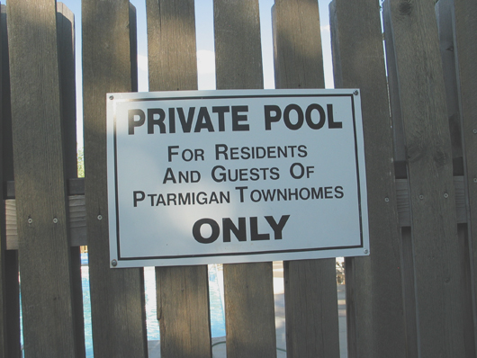 Ptarmigan - swimming pool sign